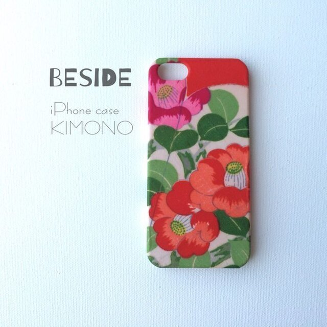 【 KIMONO 】希少一点物☆アンティーク着物iPhoneSE/5sケース(椿)の画像1枚目