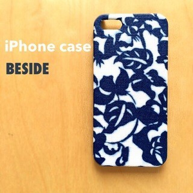 【 KIMONO 】iPhoneケース (藍色ボタニカル・綿着物)の画像1枚目