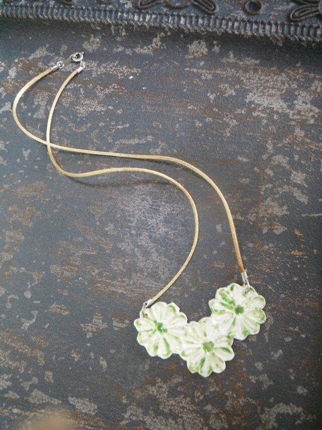 花のNecklace  (green flower)の画像1枚目