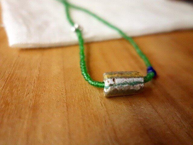 happy price*伝世のネックレス。ビルマとアフリカン再生ビーズと。の画像1枚目