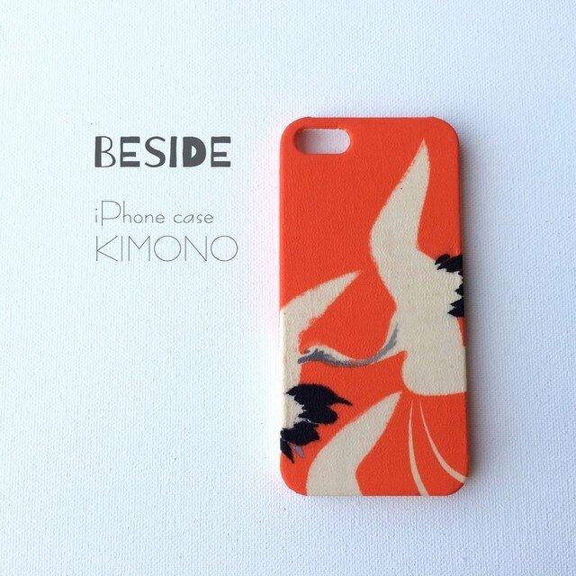 【 KIMONO 】希少・一点物☆アンティーク着物iPhoneケース(朱に鶴)の画像1枚目