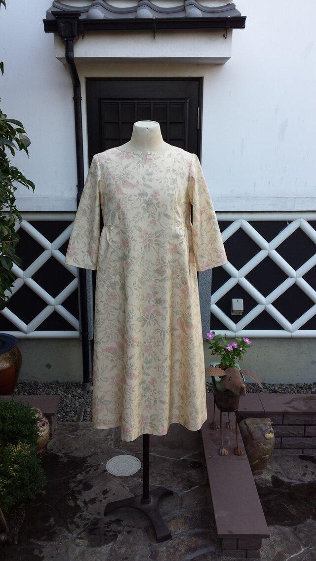 着物リメイク 古布 手作り 紬 ワンピース(正絹)の画像1枚目
