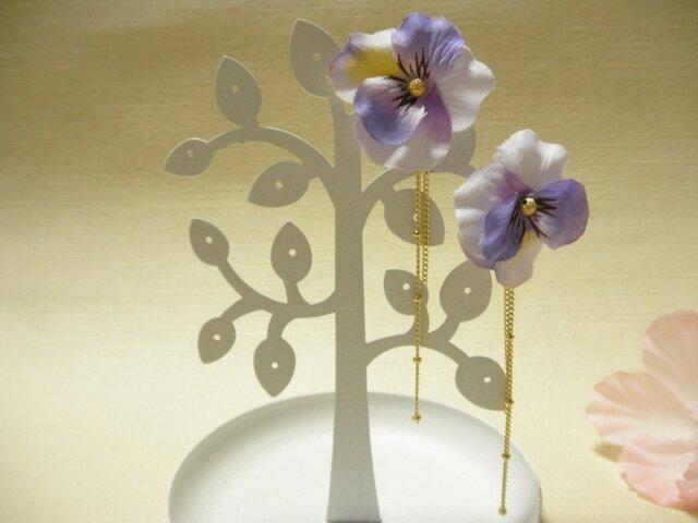 パンジーの2wayピアス(うす紫)の画像1枚目