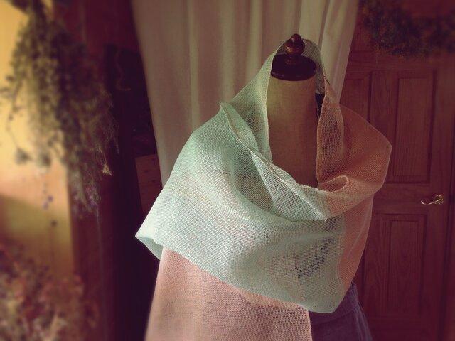 手織り リトアニアリネン糸のストールの画像1枚目