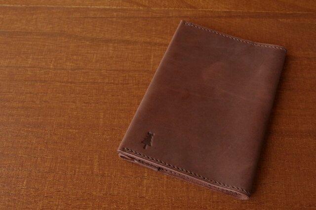 【受注生産】マットな質感のブックカバー(文庫サイズ)アンティークブラウンの画像1枚目