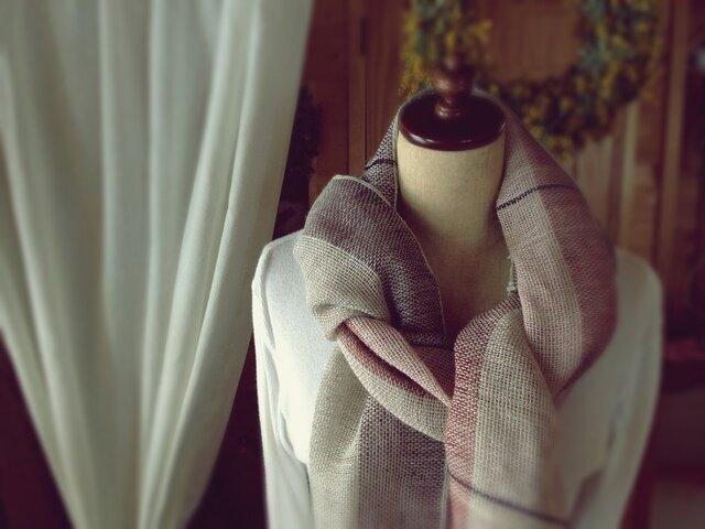 SOLD手織り リトアニアリネン糸 バイオレットのストールの画像1枚目