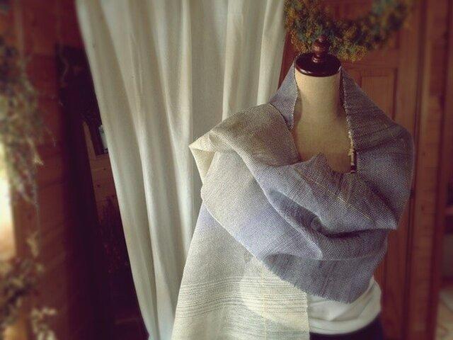 手織り リトアニアリネン糸 バイオレットのストールの画像1枚目