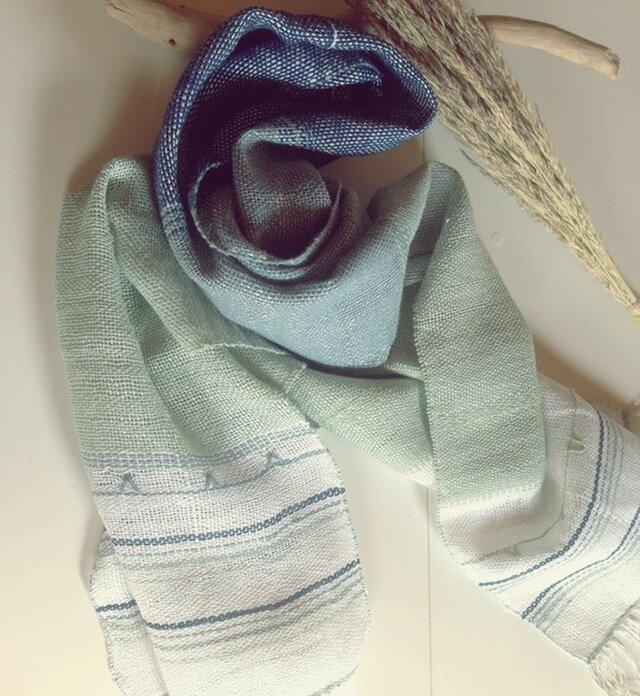 SOLD手織り リトアニアリネン糸 とクマ笹和紙糸のストール ブルーの画像1枚目