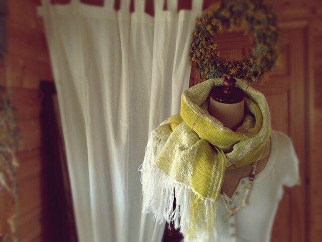 手織り リトアニアリネンとコットンのストール イエローの画像1枚目