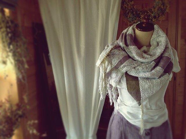 SOLD 手織り ヘンプとコットンのストール ホワイトの画像1枚目