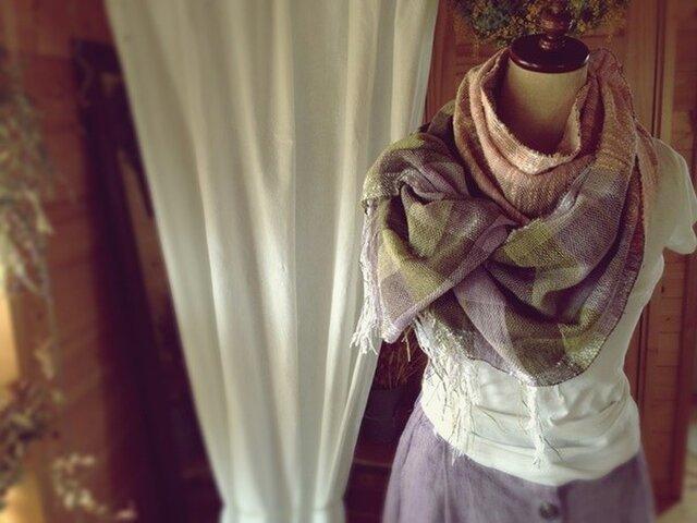 手織り ヘンプとコットンのストール バイオレットの画像1枚目