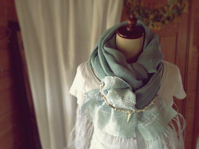 手織り リトアニアリネン糸 コバルトブルーの海の画像1枚目