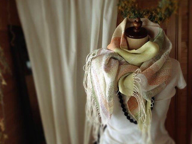 手織り リトアニアリネン糸 組織織の画像1枚目