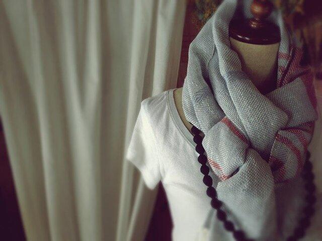 手織り リトアニアリネン糸 生成りのストールの画像1枚目