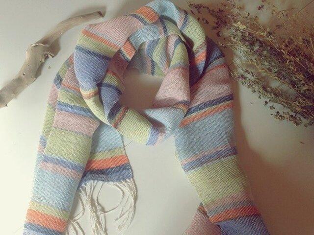 手織り リトアニアリネン糸 カラフルなストールの画像1枚目