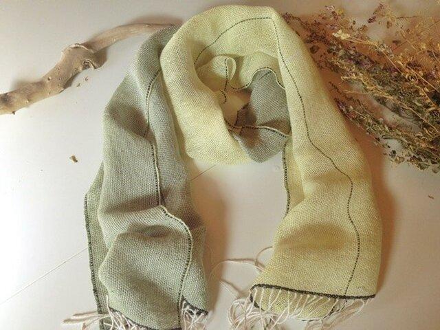 手織り リトアニアリネン糸 ミモザのストールの画像1枚目