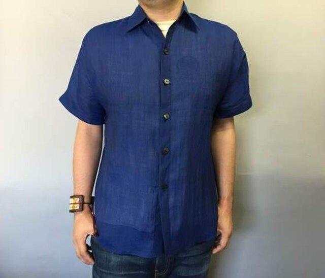 本近江織麻布手もみシャツ(黒×ブルー)の画像1枚目