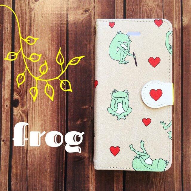 8対応★手帳型iPhoneケース FROG beigeの画像1枚目