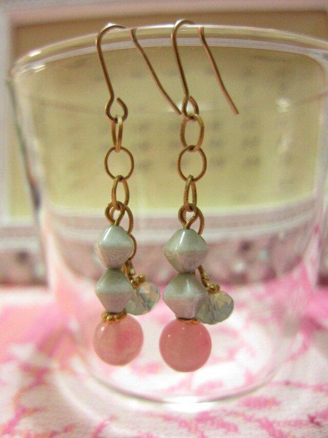 pink quartz x vintage beadsの画像1枚目