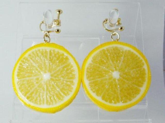リアルなフルーツイヤリング レモン両面大の画像1枚目