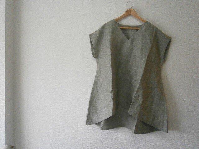 ★en-enフランスリネン・フレンチ袖背裾下がりプルオーバー・シャンブレーグリーン1674の画像1枚目