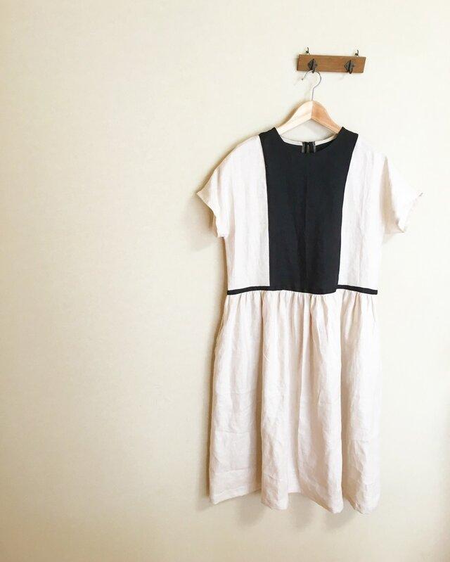 リネン バイカラー ツートン ワンピース ドレスの画像1枚目