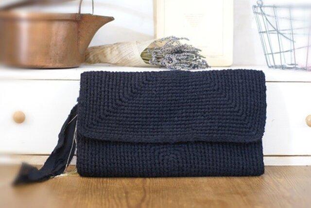 クラッチバッグ/裂き編みバッグの画像1枚目