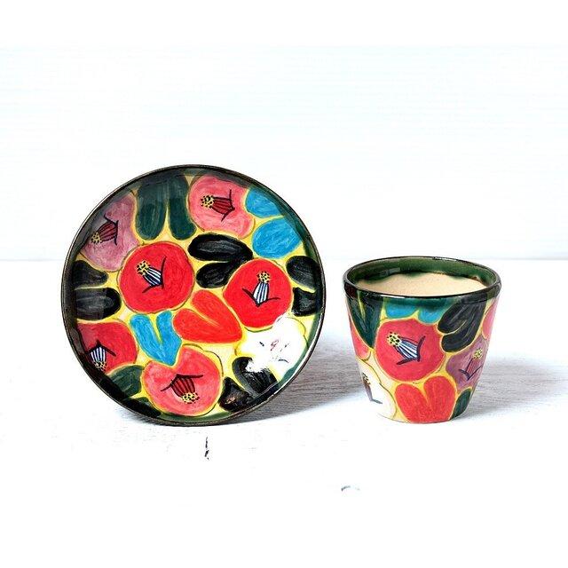 椿(黒い葉)のフリーカップセットの画像1枚目