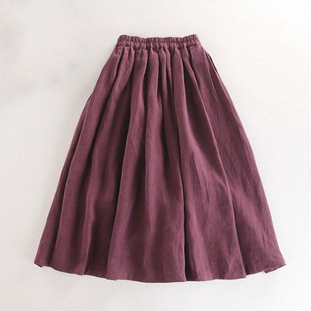 s38(再販)リネン100% 布たっぷり使った一年中着回し可能なスカート 赤紫の画像1枚目
