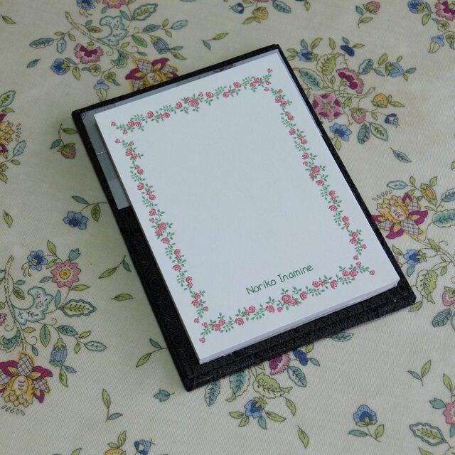 ★お名前入り★ 台付きmy メモ帳 オーストリッチ 【グレイの花】 の画像1枚目
