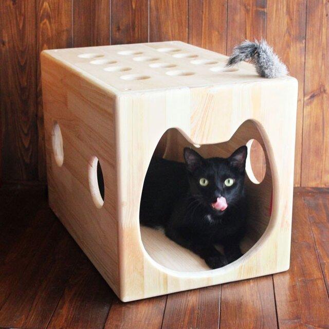 木製猫ハウス第2弾「猫じゃらトンネル」・13.CATS.WORKSオリジナルの画像1枚目