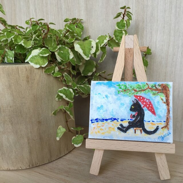 浜辺の黒猫 ミニイーゼル付き原画 の画像1枚目