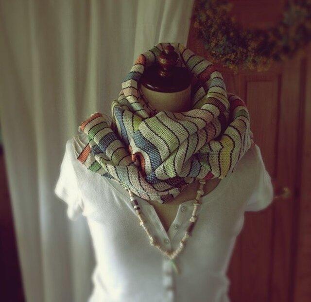 SALE!手織り リトアニアリネン糸 とコットンのカラフルな縞模様の画像1枚目