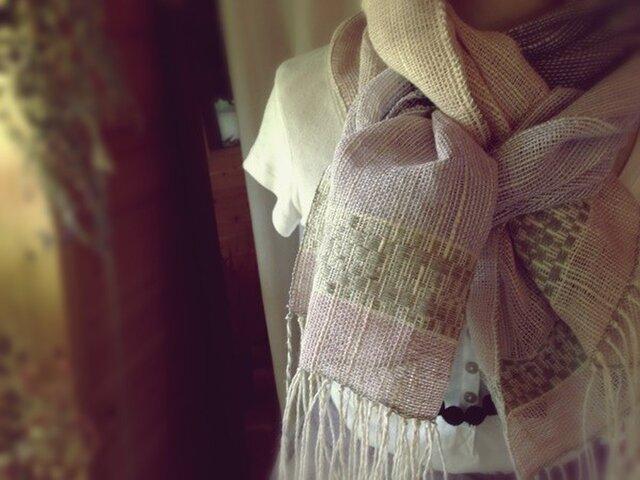 手織り リトアニアリネン糸 色々な植物繊維のストールの画像1枚目