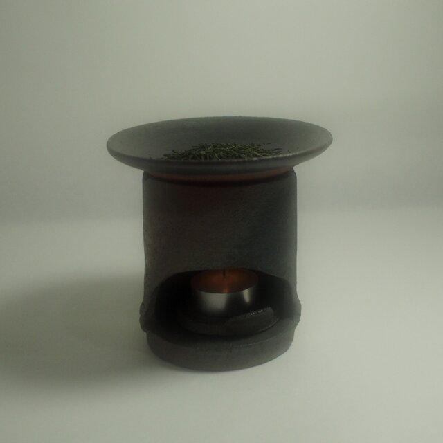 茶葉を使った和のアロマポット 竹炭モチーフ茶香炉 Aの画像1枚目