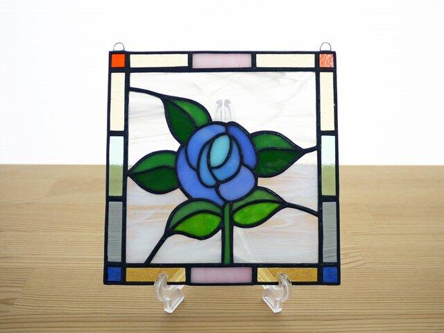 ステンドグラス ミニパネル ローズ青 15cmの画像1枚目