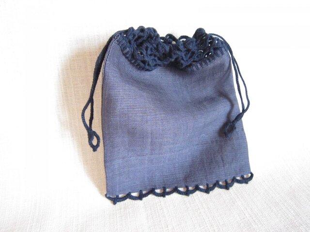 濃紺きもの地濃紺ふち編み巾着の画像1枚目