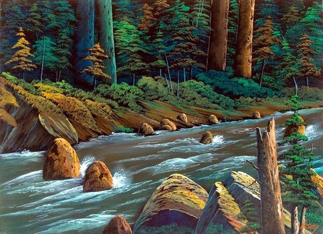 濁流の渓流風景の画像1枚目