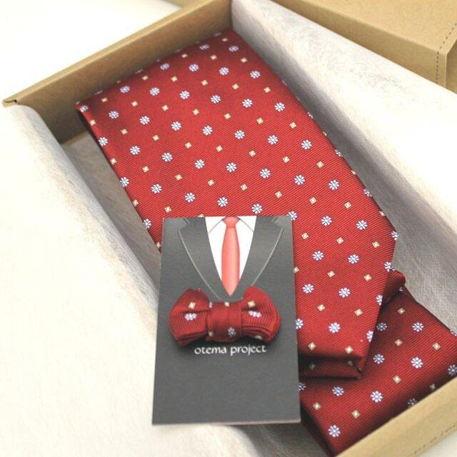 還暦のお祝いに~赤の花小紋ネクタイ&タックピン/受注後の制作の画像1枚目