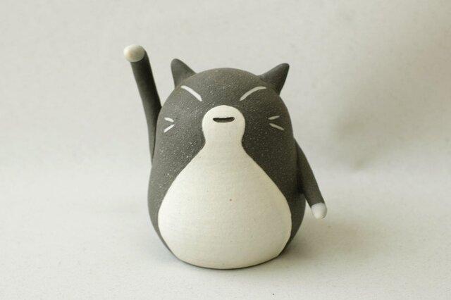 招き猫(チビ・右手) / 陶器の招き猫、金運招きといわれる右手あげの画像1枚目