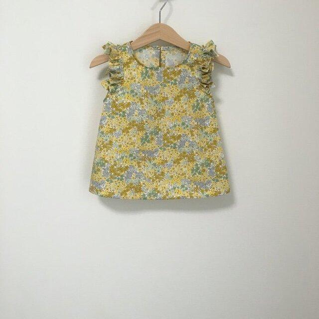 変形フリル袖トップス小花柄イエロー サイズ90の画像1枚目