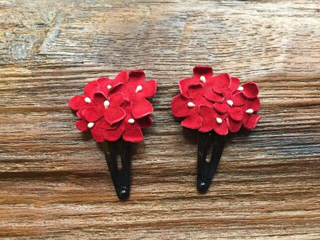 革花のブーケスリーピン 2個セット 赤の画像1枚目