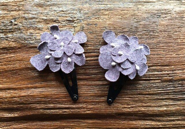 革花のブーケスリーピン 2個セット 薄紫の画像1枚目
