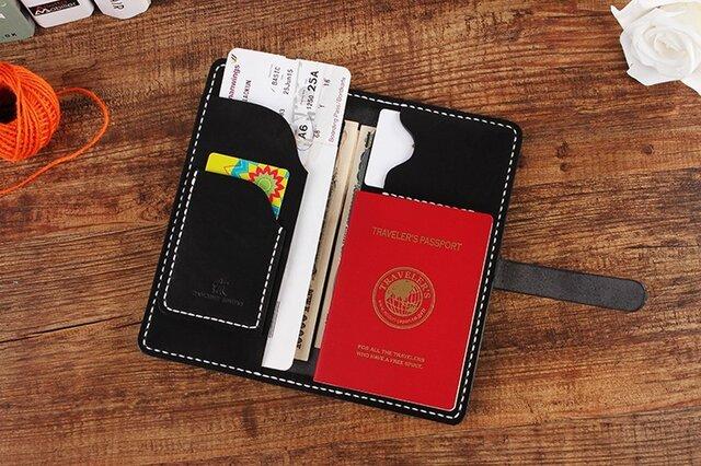 【切線派】牛革二つ折り手作り手縫いパスポート長財布(008003)の画像1枚目