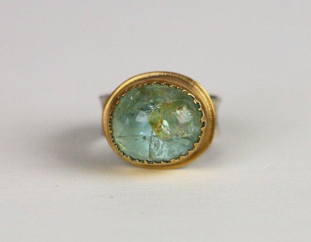 古代スタイル アクアマリン 指輪 10号の画像1枚目