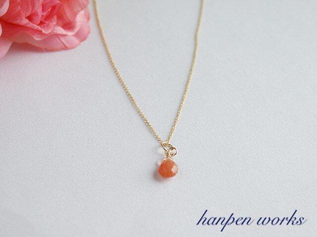 14kgf 宝石質 オレンジ ムーンストーン レンボームーンストーン ネックレスの画像1枚目