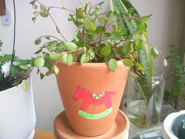 赤い馬の植木鉢の画像1枚目