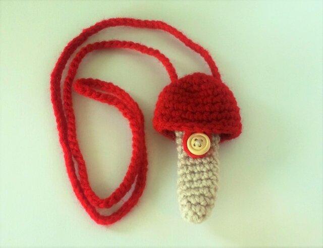 トランペット マウスピースケース(毛糸)キノコ型【赤】首掛け用の画像1枚目