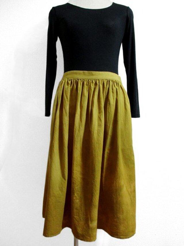 ゆったりギャザースカート・ミディ丈(黄色ムラ染)の画像1枚目