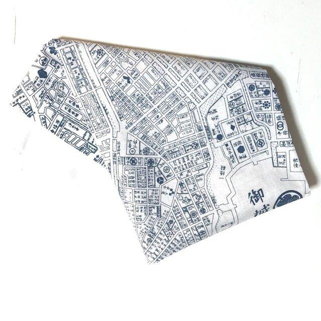 古地図が好き♪ 江戸古地図バンダナ白の画像1枚目